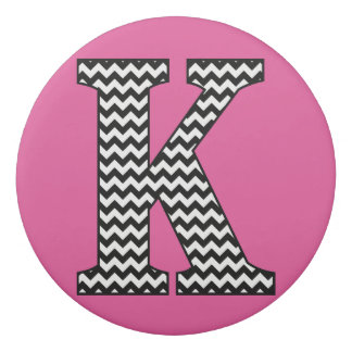 Black and White Chevron letter K Classic Monogram Eraser