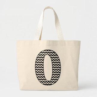 Black and White Chevron Letter O Monogram Large Tote Bag