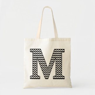 "Black and White chevron ""M"" Monogram Tote Bag"
