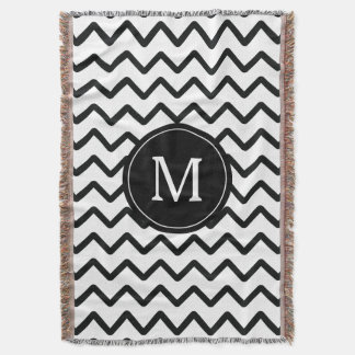 Black and White Chevron Monogram Throw Blanket