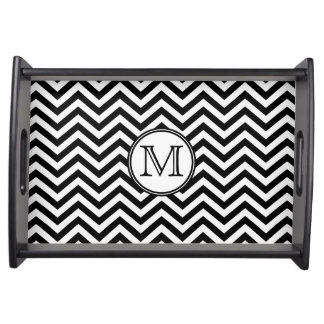 Black and White Chevron Monogrammed Serving Tray
