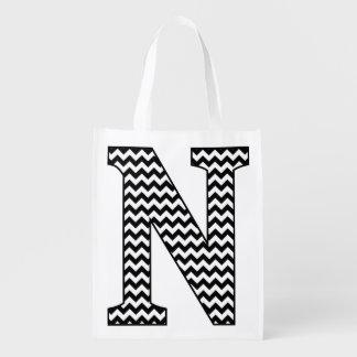 """Black and White Chevron """"N"""" Monogram Tote Bag."""