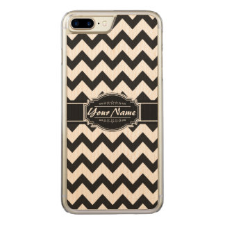 Black and White Chevron Name Carved iPhone 8 Plus/7 Plus Case