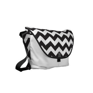 Black and white chevron pattern courier bag