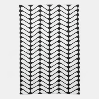 Black and White Chevron Pattern, Like Knitting. Tea Towel