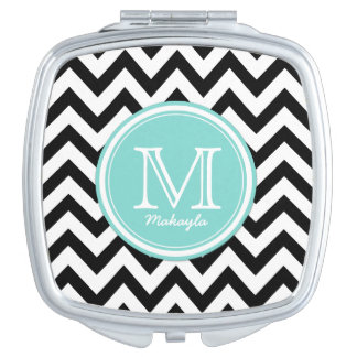 Black and White Chevron Pattern with Monogram Compact Mirrors