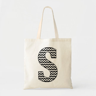 "Black and White Chevron ""S"" Monogram Tote Bag Budget Tote Bag"