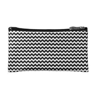 Black and White Chevron Stripe Makeup Bag