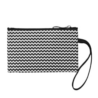 Black and White Chevron Stripe Change Purse