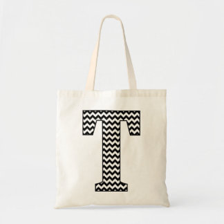 "Black and White Chevron ""T"" Tote Bag"