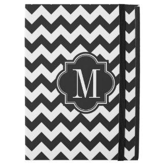 "Black and White Chevron with Black Monogram iPad Pro 12.9"" Case"