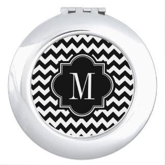 Black and White Chevron with Black Monogram Vanity Mirror