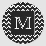 Black and White Chevron with Custom Monogram.