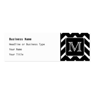 Black and White Chevron with Custom Monogram. Business Card Template