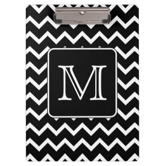 Black and White Chevron with Custom Monogram. Clipboard