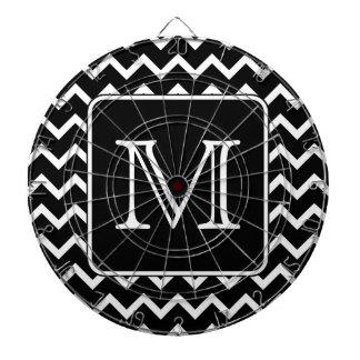 Black and White Chevron with Custom Monogram. Dartboard