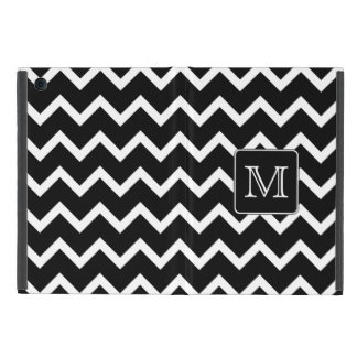 Black and White Chevron with Custom Monogram. iPad Mini Cover