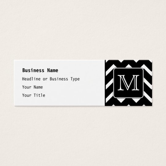 Black and White Chevron with Custom Monogram. Mini Business Card