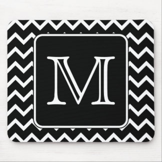 Black and White Chevron with Custom Monogram. Mouse Pad