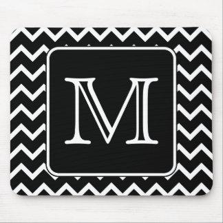 Black and White Chevron with Custom Monogram Mouse Pad