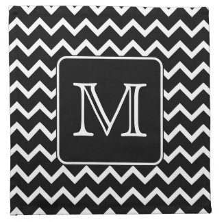 Black and White Chevron with Custom Monogram. Napkin