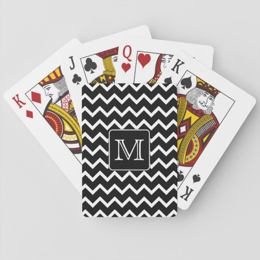 Black and White Chevron with Custom Monogram. Poker Cards