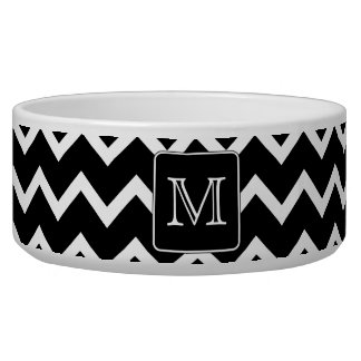 Black and White Chevron with Custom Monogram. Pet Food Bowl