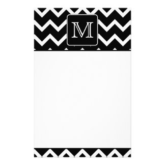 Black and White Chevron with Custom Monogram. Stationery