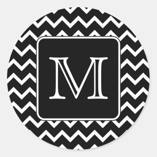 Black and White Chevron with Custom Monogram. Round Stickers