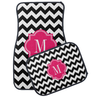 Black and White Chevron with Hot Pink Monogram Car Mat
