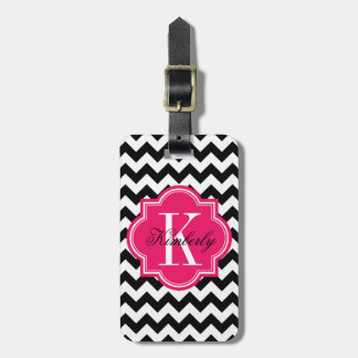 Black and White Chevron with Hot Pink Monogram Luggage Tag