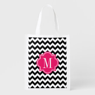 Black and White Chevron with Hot Pink Monogram Reusable Grocery Bag