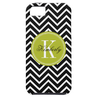Black and White Chevron with Lime Green Monogram iPhone 5 Cases