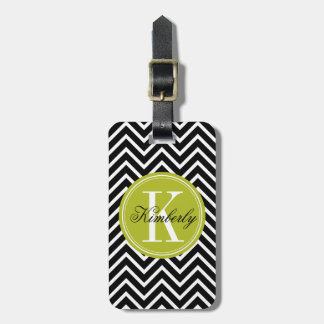 Black and White Chevron with Lime Green Monogram Luggage Tag