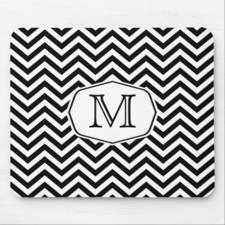 Black and White Chevron with Marquee Monogram Mouse Pad