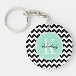 Black and White Chevron with Mint Monogram Key Ring