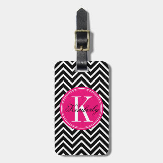 Black and White Chevron with Pink Monogram Luggage Tag