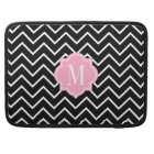 Black and White Chevron with Pink Monogram Sleeve For MacBook Pro