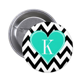 Black and White Chevron with Teal Heart Monogram Pinback Buttons