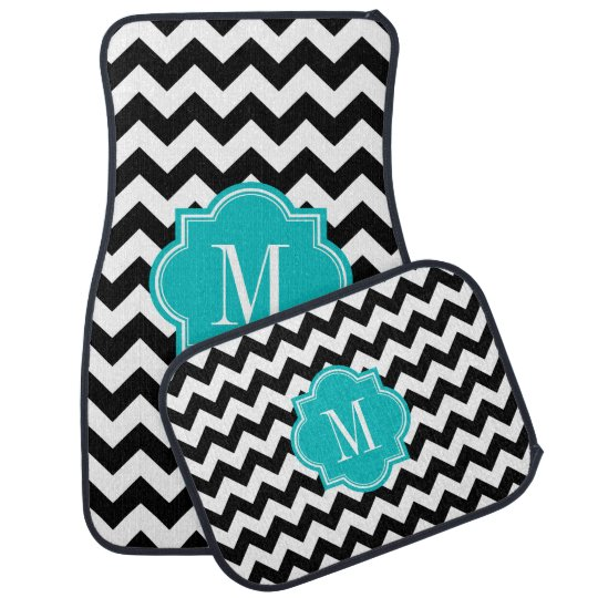 Black and White Chevron with Teal Monogram Car