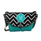 Black and White Chevron with Teal Monogram Courier Bag