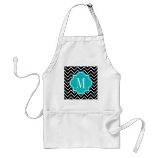 Black and White Chevron with Teal Monogram Standard Apron