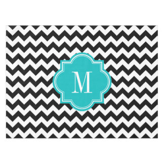 Black and White Chevron with Teal Monogram Tablecloth