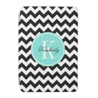 Black and White Chevron with Turquoise Monogram iPad Mini Cover