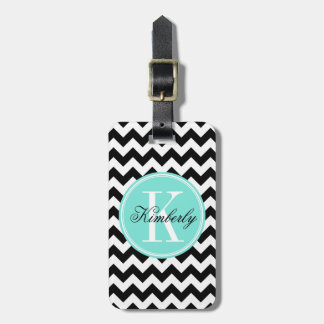 Black and White Chevron with Turquoise Monogram Luggage Tag
