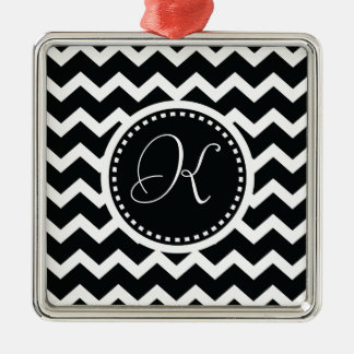 Black and White Chevron Zig Zag Retro Elegance Christmas Ornament