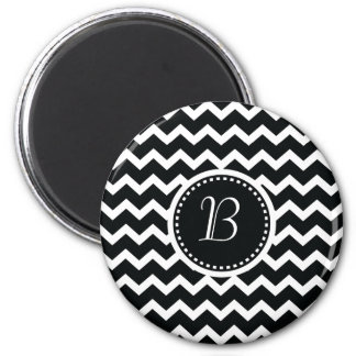 Black and White Chevron Zig Zag Retro Elegance Magnet