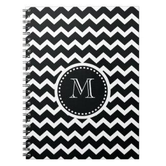 Black and White Chevron Zig Zag Retro Elegance Notebook