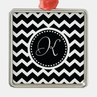 Black and White Chevron Zig Zag Retro Elegance Silver-Colored Square Decoration