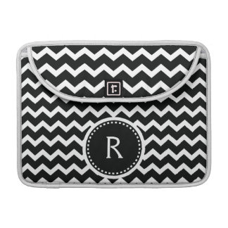 Black and White Chevron Zig Zag Retro Elegance Sleeve For MacBook Pro
